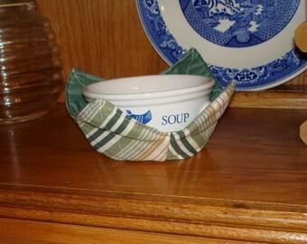 Microwave Bowl Cozy - Green Stripes