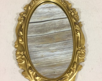 Vintage Ornate Gold Oval Small Hanging Mirror, Small Wall Mirror