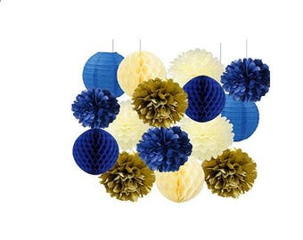 15pcs  Navy Cream Gold Bridal Shower Decorations Tissue Pom Pom Flower Navy Honeycomb Balls for Birthday Party Decorations Wedding Favors