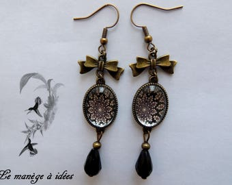 Earrings / dangling / Cabochon, brass, the rosette, Vintage.
