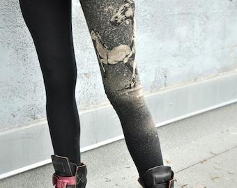 Horse Print, Black Leggings, High Waisted Pant, Yoga Pants, Yoga Leggings, Bamboo Terry Leggings, Hand Painted, Wild Horses