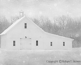 White Barn, Winter Photography - 8x12 Fine Art Photograph