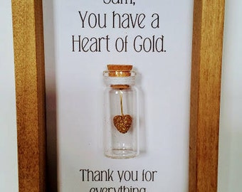 Thank you gift. Thank you. Thank you card. Heart of gold. Can be personalised with names or your own message.