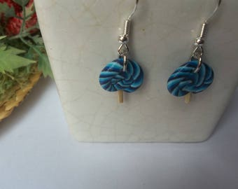 Blue block lollipop polymer clay earring