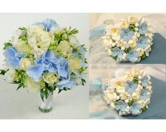 bride bouquet, bride bracelet, hydrangea bride bouquet, white and blur bouquet, hydrangea bride, blue bride bouquet, custom bouquet