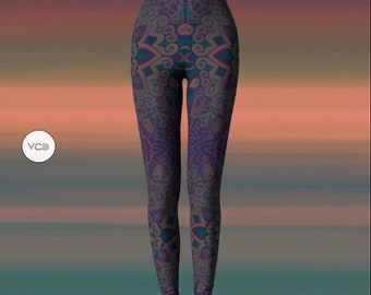 YOGA LEGGINGS Womens Tribal Printed Leggings Yoga Pants for Women Sacred Geometry Lotus Flower Leggings Pattern Leggings Festival Leggings