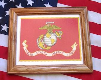 Framed American Military Flag, United States Marines Flag, Marine Corps Flag