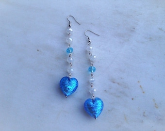 Handmade earrings, heart, murano,turquoise stone,blue, green,white crystal, surgical stainless steel hook,special gift, semiprecious stones.