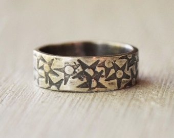 Sterling Silver Starry Night Ring - Hand Stamped Band - Stars - Unique - Night Sky - Outdoors - Custom Made