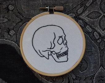 Human Skull Embroidery Hoop