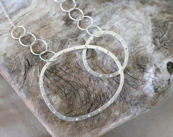 Silver Riveted Shapes Necklaces