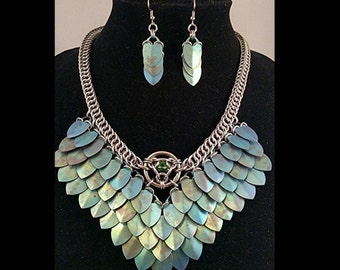 Green Titanium Goddess Necklace and earrings
