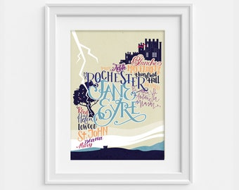 Jane Eyre print. Poster dedicated to the novel by Charlotte Bronte in hand type. Characters and places (12,60 x 18,10)