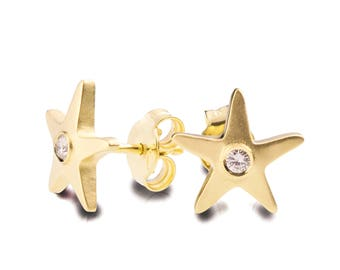 Starfish Earrings, 18K Gold Diamond Earrings, Gold Diamond Earrings, Diamond Earrings, Post Earrings, Marine Earrings, Vintage, antique