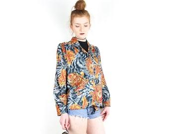 Vintage 1980s Oversized blouse or jacket / Orange Gray Retro Foulard Print Silky Polyester 80s kitsch / Long Sleeve Button Down Shirt Size M