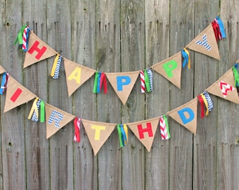 Happy Birthday Banner, Burlap Birthday Bunting, Custom Made Burlap Birthday Banner