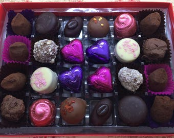Box of 24 delicious hand made Belgian chocolates.