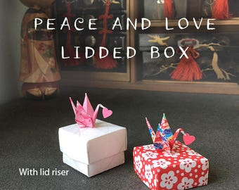 Peace and Love Cranes Origami Lidded Box