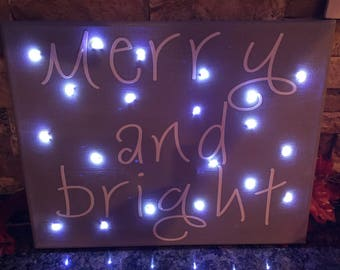 Merrry and Bright Light Up Holiday Canvas