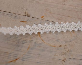 White Applique Trim- 3 yards Vintage Fabric Embroidered Trim 70s New Old Stock Lace Fringe