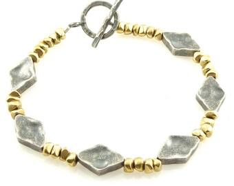 Gold Silver Bracelet, Mixed Bracelet, Brass Silver Bracelet, Two tone Bracelet, Rustic Bracelet, Antique Silver Gold Bracelet, Silver Gold