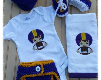 Embroidered Football Set - Purple and gold - Free Shipping - Photography Prop - Newborn Prop - Handmade Baby Shower Gift