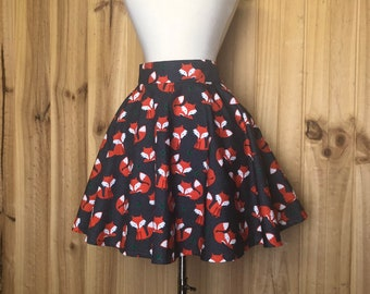 Fox Circle Skirt, Size Large - Ready to Ship - Foxes Kawaii Pin Up 100% Cotton
