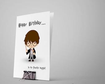 Harry Potter Birthday Card... Birthday Card / Happy Birthday Card / Greeting Card / Card for Kid / Potter Birthday Card / Muggle Birthday