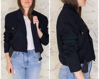 Vintage Faust Paris black fabric motorcycle jacket with belt size S   Biker jacket stylish   Women's fashion   Biker jacket