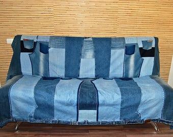 Denim Quilt Cover, Recycled Denim, Comforter, Denim Patched Quilt, Denim Blanket, Quilt Patchwok, Patchwork denim, denim scrap fabric
