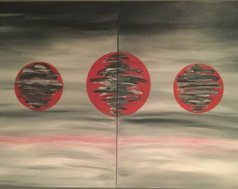 "Galaxy - Large 2 panel contemporary, modern Painting""60""x 40"""