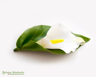 Brooch Calla Lily - Hair clip - Polymer Clay Flowers - Wedding Accessories
