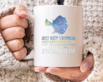 Just Keep Swimming Finding Nemo Watercolour Office Work Present Gift  11oz MUG