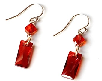 lyst swarovski in red crystal tone drop silver jewelry gallery earrings product