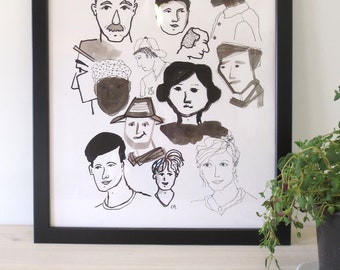 Portrait collage ink drawing - black and white - original - graphical art - faces portrait - zizolabel - frame included