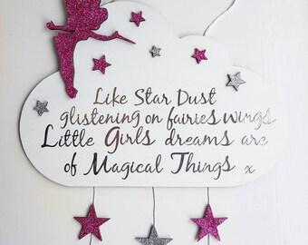 Disney Tinkerbell Door Wall sign hanging plaque quote fairy cloud glitter princess Peter pan fairies stars children bedroom nursery baby