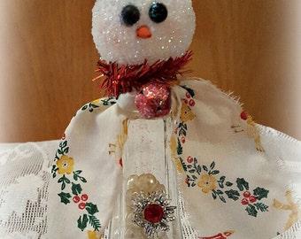 "Vintage Salt Shaker Snowman ""Orville"", Glass Shaker, Glitter Snowman Decoration, Snowman Assemblage, Christmas Collectible, Original"