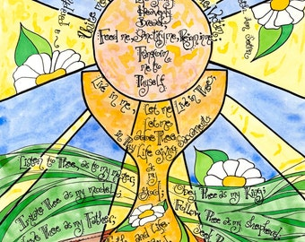 Anima Christi, Personalized First Communion Gift, St Elizabeth Seton Prayer Art, Catholic, Eucharist, Adoration, Art print