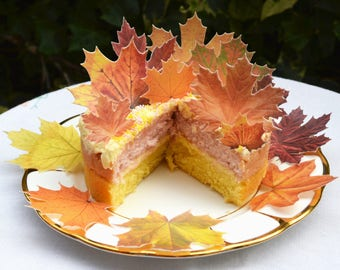 Edible Maple Leaves Autumn Fall Rustic Orange Wedding Cake Decoration Wafer Rice Paper Yellow Leaf Cupcake Thanksgiving Cookie Toppers