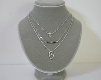 Three Strand Merlot Garnet, Quartz and Hammered Floating Heart Minimalist Understated Necklace