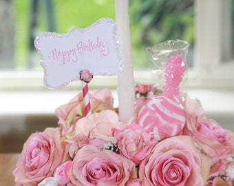 Floral Arrangement Happy Birthday Cake Candy Bouquet Silk Flower Centerpiece 3 In 1 Edible