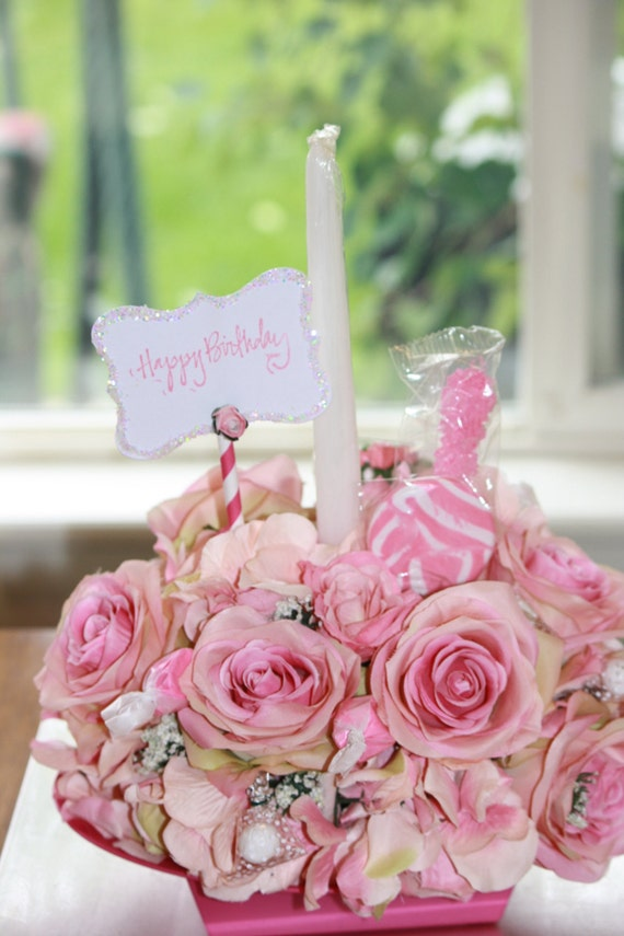 Floral Arrangement Happy Birthday Cake Candy Bouquet Silk