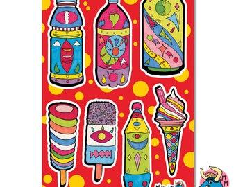 Stickers, Sticker Sheet, Vinyl Stickers, Planner Stickers, Laptop Stickers, Phone Stickers, Summer Stickers, A5 Sticker Sheet, Fun Stickers.