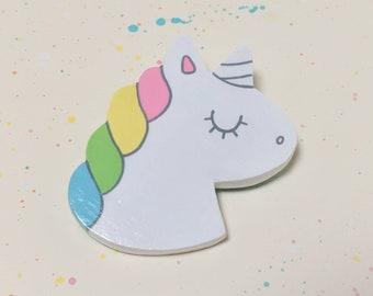 Rainbow Unicorn Pin - Handmade Miniature Clay Brooch Jewelry