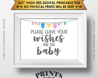 "Wishes for Baby Sign, Please Leave your Wishes for the Baby Shower Sign, Baby Wishes Shower Decoration, 5x7"" Printable Instant Download Sign"