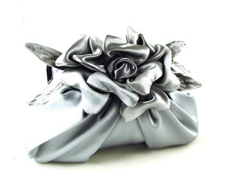 Silver bridal satin clutch with pleats and flower detail  - Gardenia