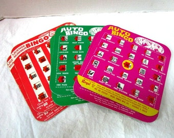 2 Vintage Auto Bingo Game Cards, 1960s, Old Fashioned Fun, Family Vacation Cards, Backseat Bingo, Green or Orange or Pink, USA