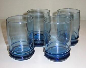 Vintage Teal Juice Glasses, Set of Four