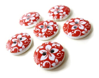 6  Flower Wood Painting Sewing Buttons Red and White 15mm  (BB112)