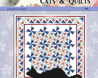 Cats And Quilts July Original Counted Cross Stitch Pattern by Pamela Kellogg